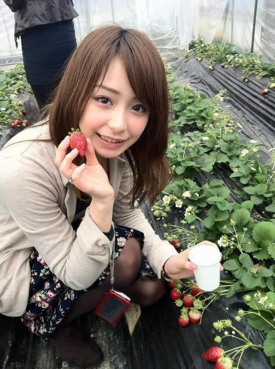 イチゴを摘んでいる宇垣美里。